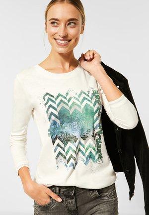 MIT FRONTPRINT - Long sleeved top - weiß
