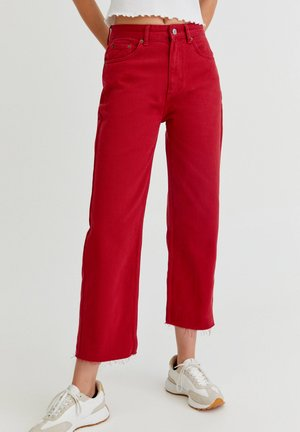 CROPPED - Jeansy Straight Leg - red