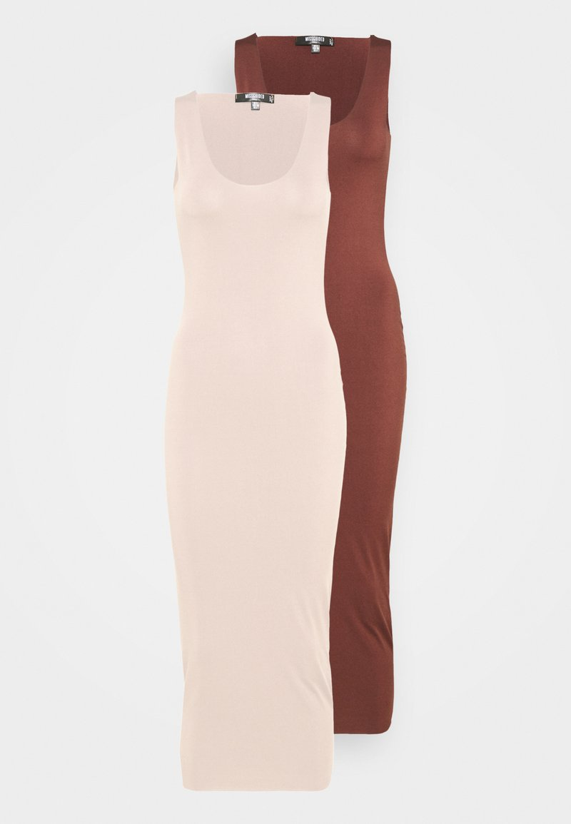 Missguided Tall - SLINKY RACER DRESS 2 PACK - Maxi dress - sand/chocolate