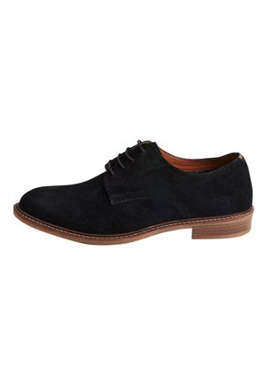 NAVY SUEDE DERBY SHOES - Smart lace-ups - black