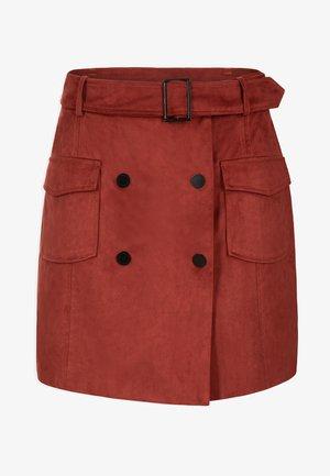 WITH 2 BUTTON ROWS - Falda cruzada - dark red