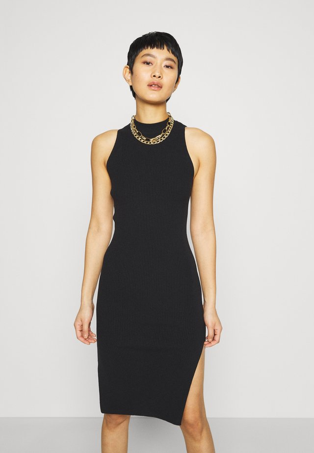 MOCKNECK MIDI SWEATER DRESS - Gebreide jurk - black