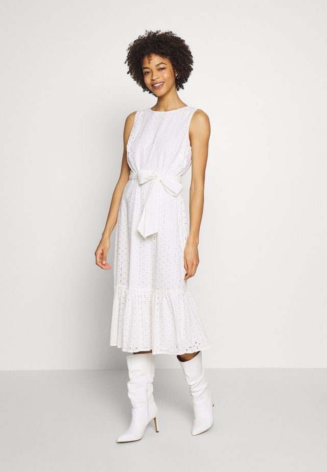BRODERIE TIERED MIDI DRESS - Day dress - ivory