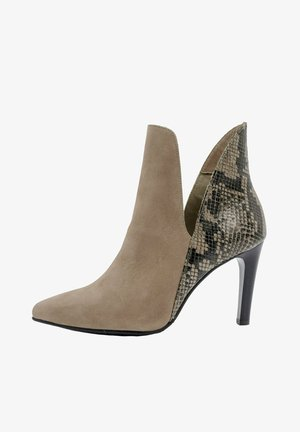 High heeled ankle boots - nude schlange