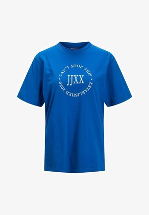 T-shirt con stampa - mottled dark blue