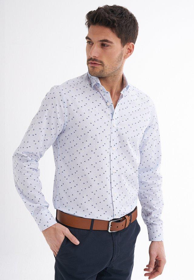 UMBERTO - Shirt - baby blue/ navy printed