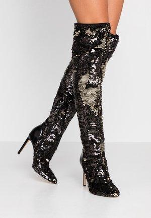 TEODARE - Boots med høye hæler - black/gold