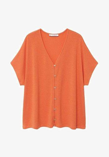 MET KNOPEN - Print T-shirt - koraalrood