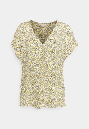 BLOUSE V NECK PRINTED - Print T-shirt - mellow yellow