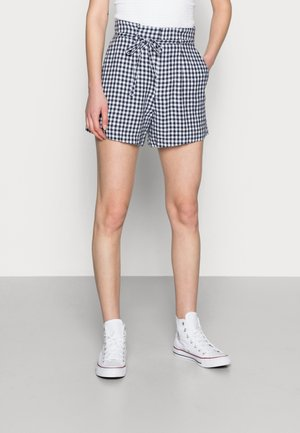 BELTED SHORT GINGHAM - Shorts - navy and white gingham
