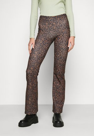 ONLFEVER FLARED PANTS  - Pantalon classique - black/brown
