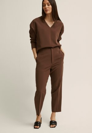 BONNIE - Trousers - dark brown