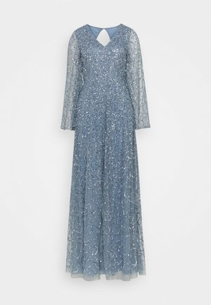 LONG BELL SLEEVE ALL OVER DRESS WITH CUT OUT BACK - Suknia balowa - dusty blue