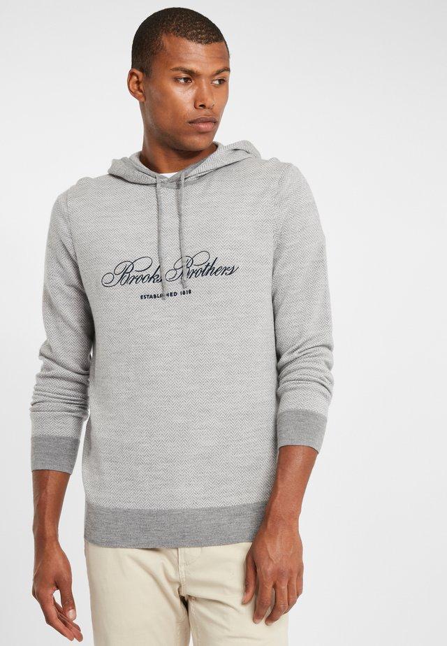 SWEATER HOODIE HERRINGBONE EMBROIDERED LOGO - Hoodie - grey