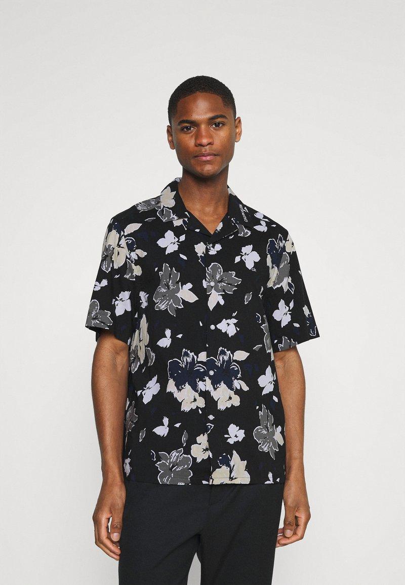Calvin Klein Tailored - SHORT SLEEVE FLOWER PRINT  - Shirt - print / black