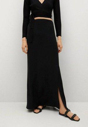 MED SPLITT - Maxi skirt - svart