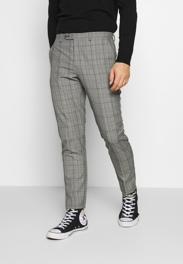HOMEWOOD CHECK SKINNY TROUSER - Suit trousers - grey