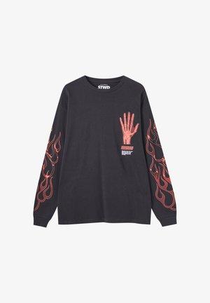 Langærmede T-shirts - mottled black