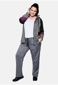 Sheego - Zip-up hoodie - heather gray - 1