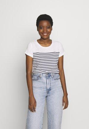 SLUB TEE - Print T-shirt - navy/white