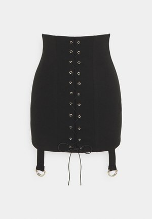 LACE UP STRAP DETAIL MINI SKIRT - Mini skirt - black