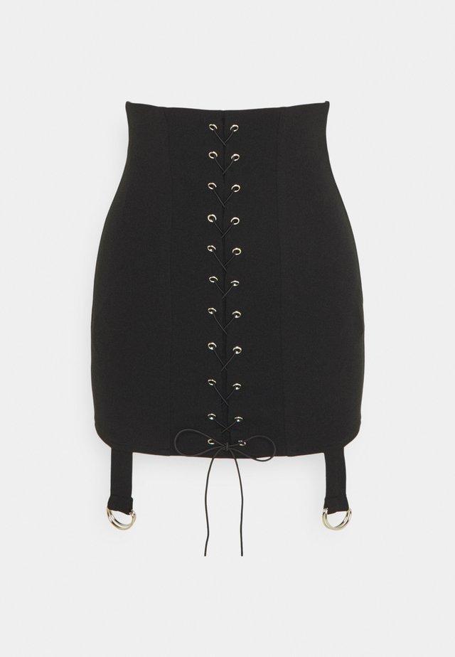LACE UP STRAP DETAIL MINI SKIRT - Spódnica mini - black