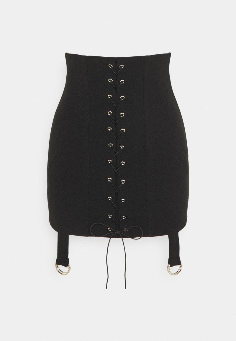 Missguided Petite - LACE UP STRAP DETAIL MINI SKIRT - Mini skirt - black
