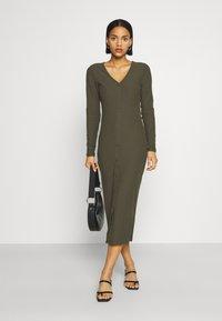 ONLY - ONLNELLA LONG BUTTON DRESS - Jersey dress - kalamata - 1