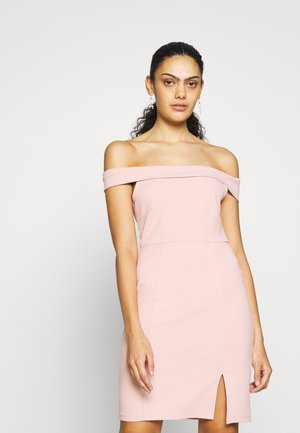 DRESS OFF SHOULDER - Pouzdrové šaty - pale mauve