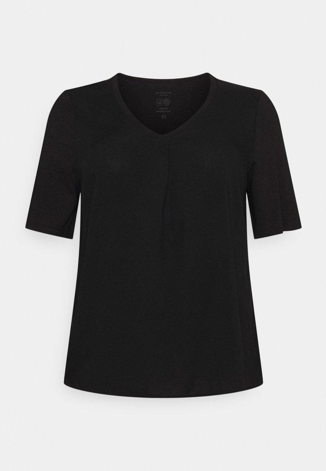 PLEAT DETAIL - T-shirt basic - deep black