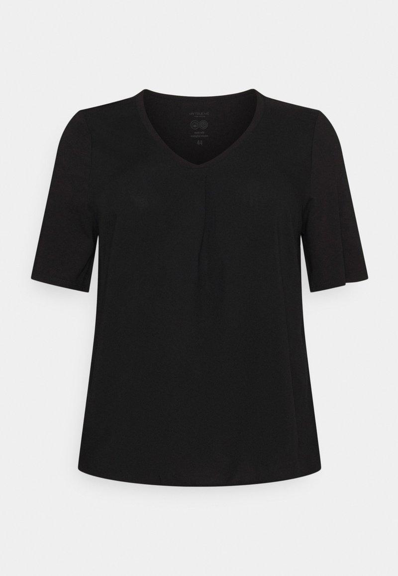 MY TRUE ME TOM TAILOR - PLEAT DETAIL - Basic T-shirt - deep black