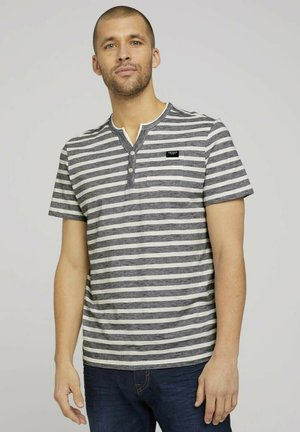 T-shirt con stampa - offwhite navy striped