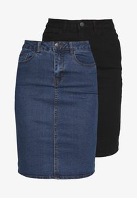 Vero Moda Tall - VMHOT NINE SKIRT TALL 2PACK - Jeansskjørt - medium blue denim/black - 5