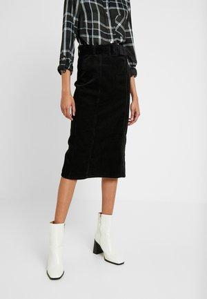 BELTED MIDI SKIRT - A-line skirt - black