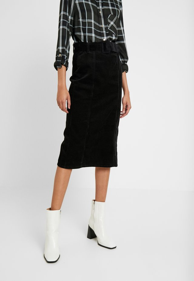 BELTED MIDI SKIRT - Jupe trapèze - black