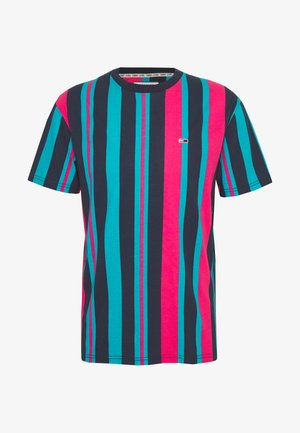 VERTICAL STRIPE TEE - Print T-shirt - twilight navy/bright cerise pink/exotic teal