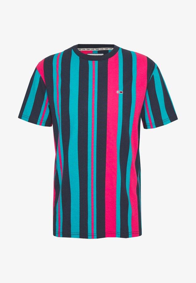 VERTICAL STRIPE TEE - T-Shirt print - twilight navy/bright cerise pink/exotic teal