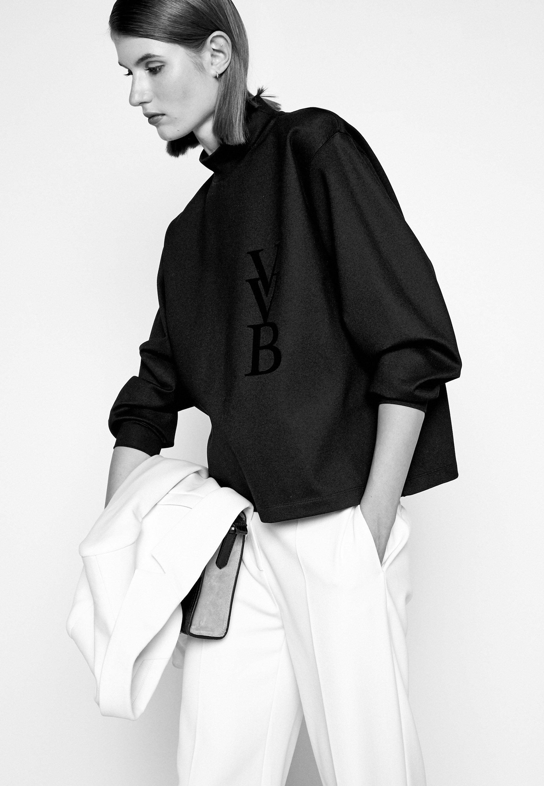 Victoria Beckham Raised Logo - Topper Langermet Black/svart