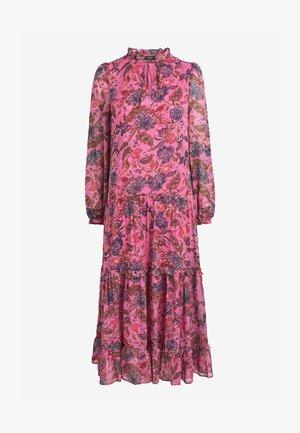 TIERED TIE NECK MIDI - Maxi dress - pink