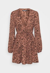Missguided - ANIMAL WRAP PLUNGE SKATER DRESS - Day dress - rust - 3