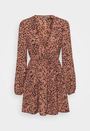 ANIMAL WRAP PLUNGE SKATER DRESS - Day dress - rust
