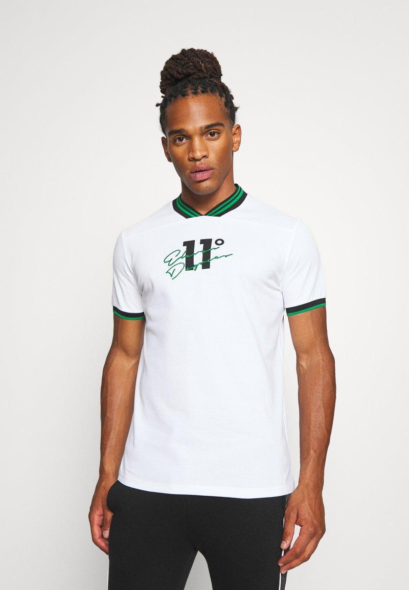 11 DEGREES - BASEBALL COLLAR - T-shirt print - white