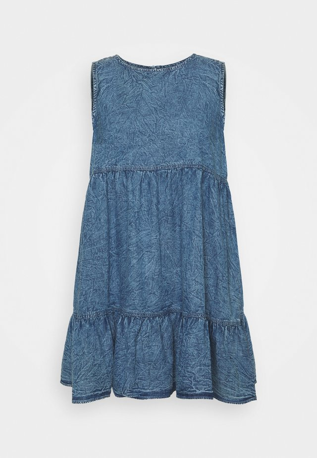 SLEEVELESS SMOCK DRESS - Vestito di jeans - blue