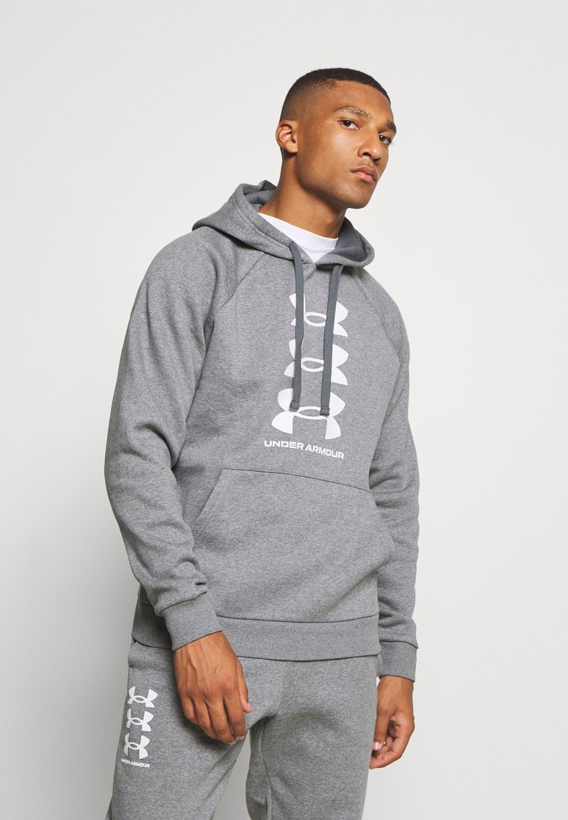 Under Armour - RIVAL MULTILOGO - Kapuzenpullover - pitch gray light heather