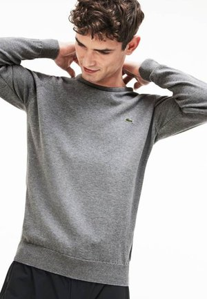 Strikpullover /Striktrøjer - grau / weiß / grau