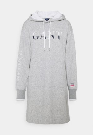 GRAPHIC HOODIE DRESS - Denní šaty - light grey melange