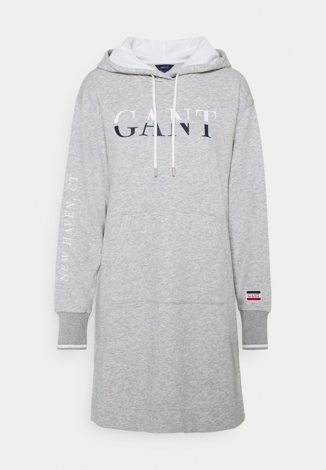GRAPHIC HOODIE DRESS - Vapaa-ajan mekko - light grey melange