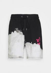 SIKSILK - BLEACH WASH AOKI - Shorts - black/white - 3