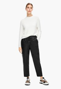 s.Oliver BLACK LABEL - Leather trousers - black - 1