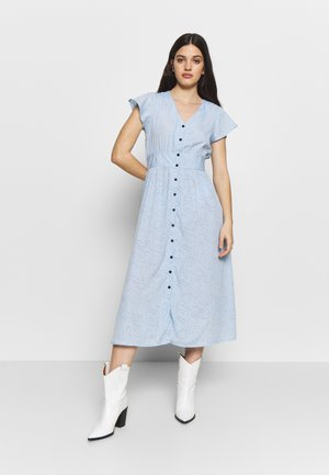 BUTTON FRONT BELTED MIDI DRESS - Day dress - spiral heart blue
